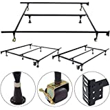 Giantex Adjustable Metal Bed Frame with Center Support with Rug Rollers and Locking Wheels Queen Full Twin Size Platform, Black