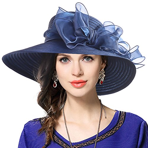 Lady Derby Dress Church Cloche Hat Bow Bucket Wedding Bowler Hats (Wide Brim-Navy) (Bowler Hat)