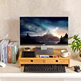 Monitor Stand Riser with Drawers, Desktop ,Laptop Stand Riser with Keyboard Storage Space for Home & Office Use by Ecobambu
