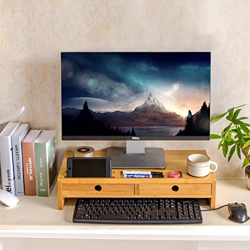Monitor Stand Riser with Drawers, Desktop,Laptop Stand Riser with Keyboard Storage Space for Home & Office Use by Ecobambu by Ecobambu (Image #1)