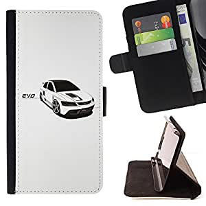 For LG G2 D800 White Car Rally Black Windows Sexy Sleek Style PU Leather Case Wallet Flip Stand Flap Closure Cover