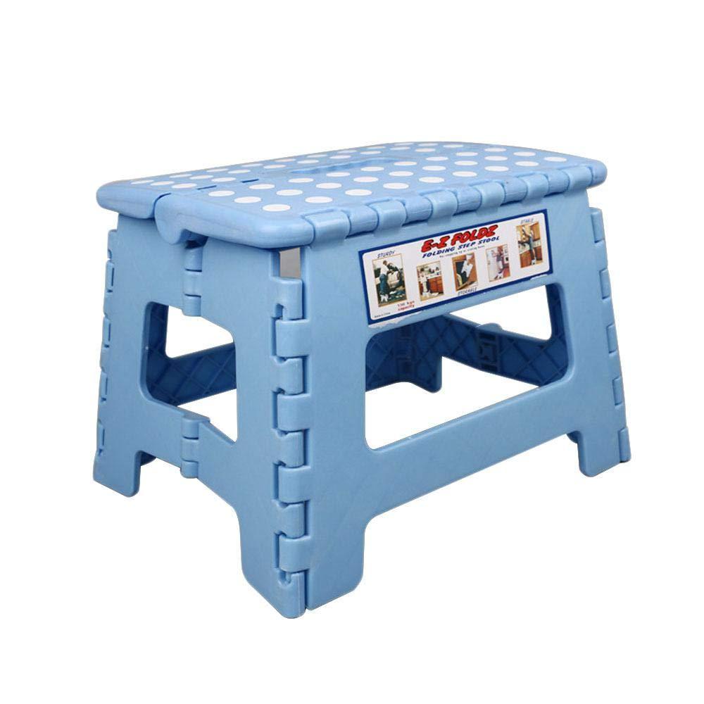Sgabello pieghevole, plastica Toddler fold Up sgabello pieghevole con manico, stabile e sicuro per bambini e adulti, ideale per cucina, bagno, camera da letto Blue Aolvo