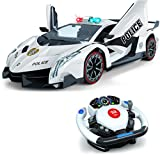 Remote Control Police Car, 4D Motion Gravity and Steering Wheel Control, 1:12 Scale, 2.4Ghz, with Lights, Sirens, Powered Doors, (TR-911)