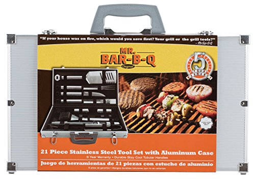 (Mr. Bar-B-Q 02066Y Silver Prestige 21-Piece Tool Set in Case)