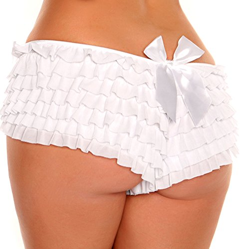 Daisy Corsets Women's Mesh Ruffle Shorts with Bow, White, Large