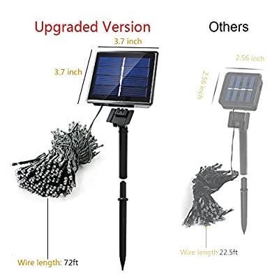 Solar String Lights 8 Modes Christmas Decoration 72 ft 200 LED Patio Lights Outdoor Lighting for Gardens, Landscape, Lawn, Xmas Tree,