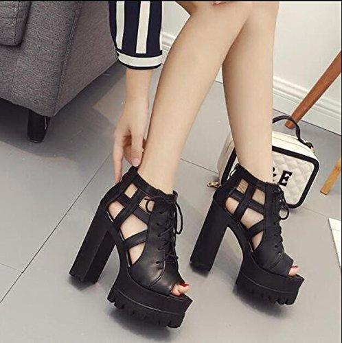 KHSKX-Vida Nocturna De 13Cm Negro De Pulpo Boca Sandalias Zapatos De Mujer Lado Es Muy Elevada Y Gruesa Con Taiwán Impermeable Grueso 35 38