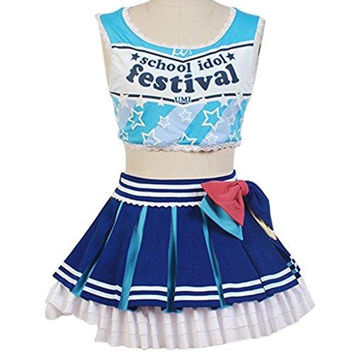 Costume 2016 Uomo (UU-Style LoveLive! Sonoda Umi Cheerleaders Suit Outfit Uniform Cosplay Costume)