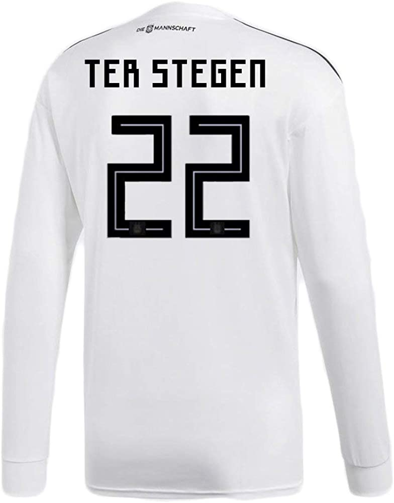adidas TER STEGEN #22 Germany Home Soccer Long Sleeve Stadium Jersey World Cup Russia 2018