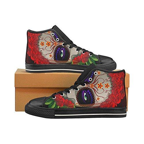 D-story Custom Day Of The Dead Skull Uomo Classico High Top Scarpe Di Tela Sneaker Di Moda