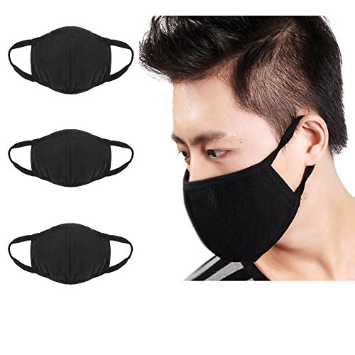 [3 Pcs Unisex PM 2.5 Pollen Dust Face Mouth Mask Anti Dust Activated Carbon Cotton Warm Masks Filter Respirator Reusable Washable Allergy Flu Gauze Mask for Women&Men, All] (Smiley Horror Mask)