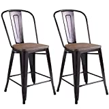 COSTWAY Copper Set of 2 Tolix Style Metal Dining Chairs with Wood Seat Stackable Industrial Counter Stool Cafe Side Chairs (Height 24')