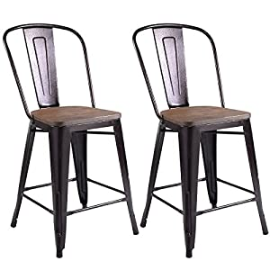COSTWAY Tolix Style Dining Stools with Wood Seat and Backrest, Industrial Metal Counter Height Stool, Modern Stackable Kitchen Dining Bar Chairs Rustic, Copper