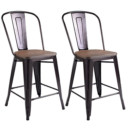Bronze Wood Finish Stool Bar (COSTWAY Copper Set of 2 Tolix Style Metal Dining Chairs Wood Seat Stackable Industrial Counter Stool Cafe Side Chairs)