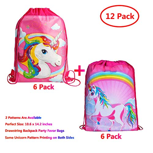 KONGZING Unicorn Party Favor Bags 12 Pack Unicorn Bag with Drawstring Backpack Pink Treat Bag for Women Girls Birthday