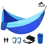 """There are a lot of camping hammocks to choose from on Amazon. Why do you choose from us? •Hammock: Our hammock is a double hammock(size: 130"""" x 78"""") even bigger than other double hammocks.Compare to the other hammocks, it's not only larger but also f..."""