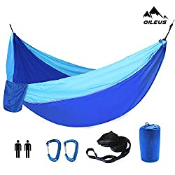 "Oileus X-large Double Camping Hammock-Lightweight Nylon Portable Hammock, Best Parachute Double Hammock-10ft Straps with Loops & Carabiners-For Backpacking Beach Yard 130"" L x 78"" W"