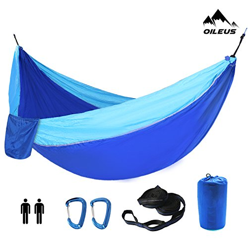 Oileus X-large Double Camping Hammock-Lightweight Nylon Portable Hammock, Best Parachute Double Hammock-10ft Straps with Loops & Carabiners-For Backpacking Beach Yard 130 L x 78 W