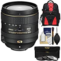 Nikon 16-80mm f/2.8-4E VR DX AF-S ED Zoom-Nikkor Lens with 3 UV/CPL/ND8 Filters + Backpack + Kit for D3200, D3300, D5300, D5500, D7100, D7200 Camera