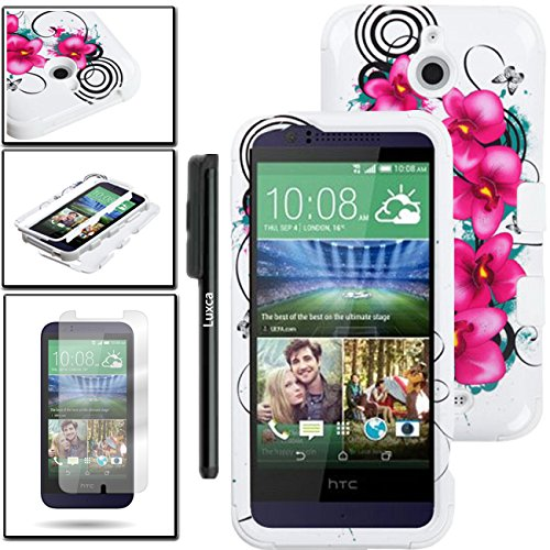 HTC Desire 510 Case, Luckyphone (TM) For HTC Desire 510 TUFF Phone Cover Protector Dual Layer Armor Case + Premium Screen Proector + Touch Screen Stylus Pen (Grey / Black TUFF)