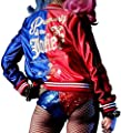 Harley Quinn Suicide Squad Jacket in Red & Blue Satin Fabric - Harley Quinn Jacket
