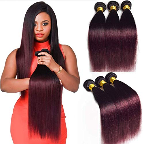Two Tone 3 Bundles Mixed Length Brazilian Straight Hair Burgundy Ombre 1b 99j Sleek Red Wine Color Remy Human Hair Extension Weave Weft 14 16 18 inches