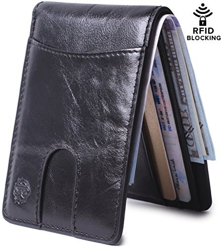 RFID Bifold Slim Leather Thin Minimalist Front Pocket Wallets Men Money Clip