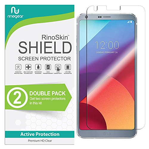 LG G6 Screen Protector [2-Pack] RinoGear Flexible Screen Protector for LG G6 HD Crystal Clear Anti-Bubble Unlimited Replacement Film