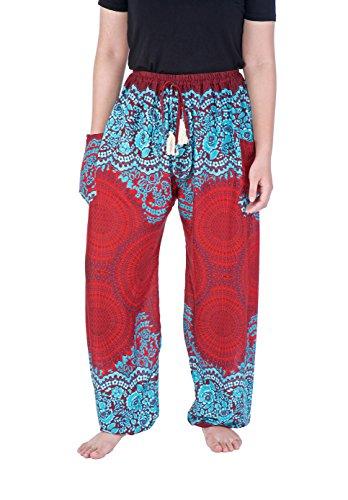 Lannaclothesdesign Women's Rose Drawstring Side Pockets Boho Yoga Pants Regular Black White,US SIZE 0-14