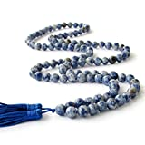 8mm 108 Blue White Stone Beads Buddhist Prayer Mala Necklace / Wrist Mala