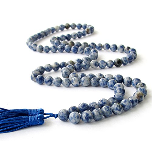 Prayer Bead Necklace - OVALBUY 8mm 108 Blue White Stone Beads Buddhist Prayer Mala Necklace/Wrist Mala