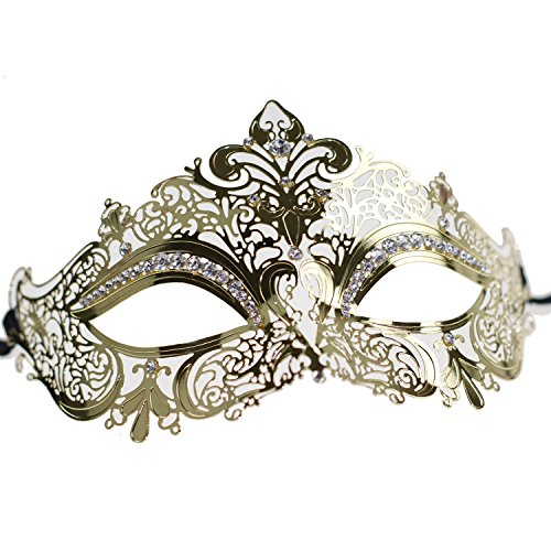 Shiny Gold Metal With Sparkly Clear Crystal Crown Masquerade Mask for Queen Princess Ladies Womens(Gold with Clear Stones)