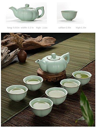 Eternal Chinese Celadon Gongfu Tea Set,Ice Crack Porcelain Teapot Teacup Ceramic Kung Fu Tea Set,Pumpkin
