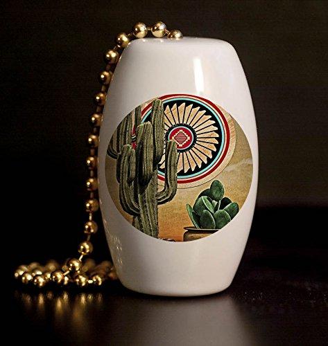 Southwest Cactus and Pots Porcelain Fan