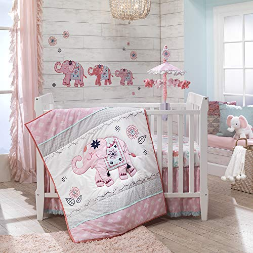 Lambs & Ivy Boho Elephant Pink/Gray/White Nursery 5-Piece Baby Crib Bedding Set