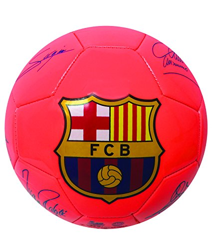 fan products of FC Barcelona Players Signature Soccer Ball, Neon Orange Color. Size #2 and Size #4. Soccer Ball With the signature of Barcelona Players, included the best soccer player of the world, MESSI (Size 4)