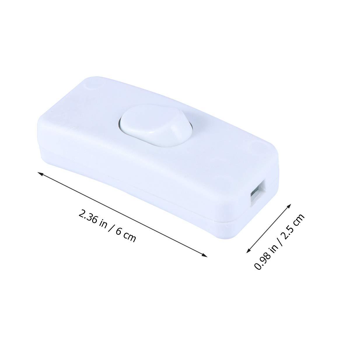 OUNONA In-Line-Schnur-Schalter Nachttischlampe Schalter 250V 10A Inline on//Off Tisch Schreibtischlampe Kabel-Kabel-Schalter mit LED-Anzeige weiß