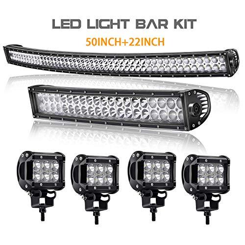 T-Former 50Inch Curved 288W LED Work Light Spot Flood Combo Off Road Lights Driving Lights + 22 inch Lights Bar +4PCS 4