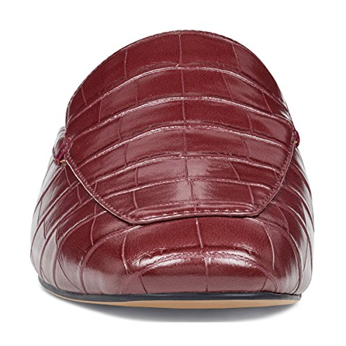 Ydn Donne Muli A Tacco Basso Slip On Flats Mocassini A Punta A Punta Zoccoli Pantofole Scivolo Scarpe Coccodrillo Grano Rosso