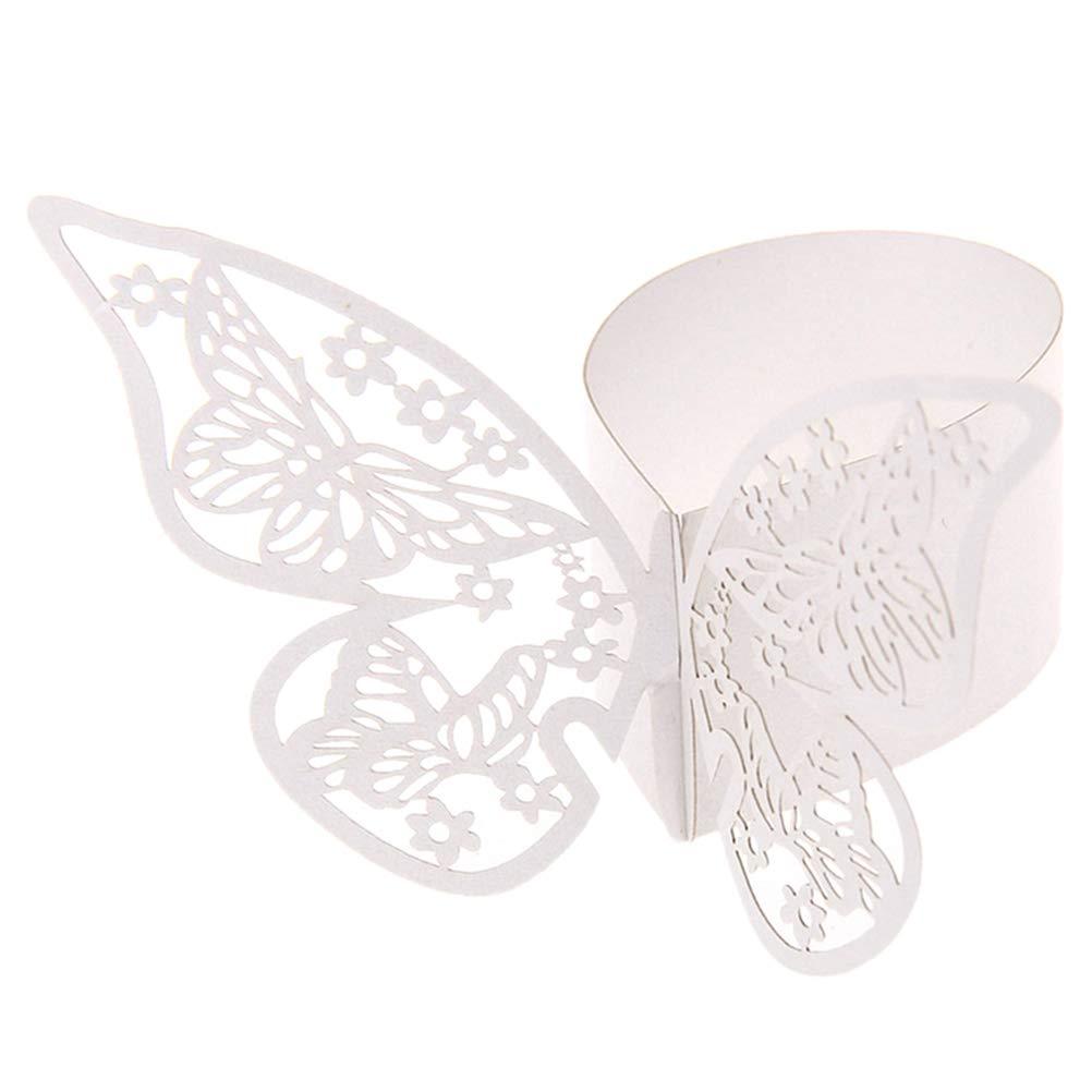 AOWA Lot de 50 Anneaux de Serviette Papillon pour Table de f/ête de Mariage Banquet