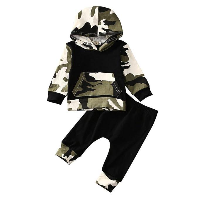 QUICKLYLY Capucha Conjunto Bebé Niño Niña Recién Infantil Largo Manga Camuflaje Sudaderas Blusa + Pantalones Ropa 0~24 Meses