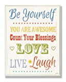 The Kids Room by Stupell Be Yourself Typography Rectangle Wall Plaque, 11 x 0.5 x 15, Proudly Made in USA