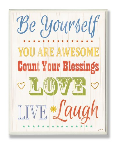 The Kids Room by Stupell Be Yourself Typography Rectangle Wall Plaque, 11 x 0.5 x 15, Proudly Made in USA by The Kids Room by Stupell
