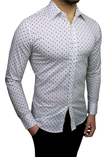 Mat Sartoriale Herren Freizeit-Hemd weiß Bianco Large