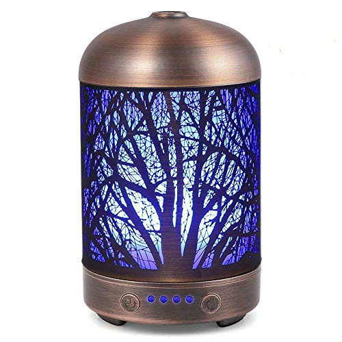 SUNPIN 100ml Aromatherapy Essential Oil Diffuser, Metal Ultrasonic Cool Mist Diffuser with Waterless Auto Shut-Off , 7 Color LED Lights Changing for Home Office Yoga(Tree)