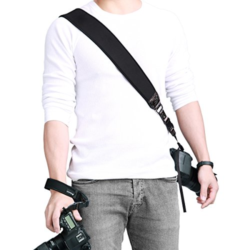 Powerextra Camera Neck Shoulder Strap and Wrist Strap w/Quick Release and Safety Tether Compatible with Nikon Sony Olympus Pentax fujifilm Panasonic Canon Camera SLR DSLR ()