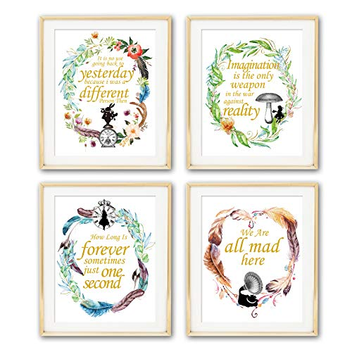 Alice in Wonderland Imagination Quotes Art Prints | Set of Four Photos 8x10 Unframed | Great Gift for Living Room Bedroom Office Decor -