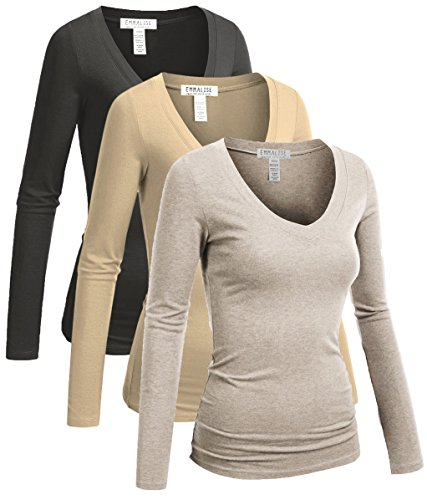 Emmalise Women's Junior and Plus Size Vneck Tshirt Long Sleeves Shirt Tee, Small, 3pk Oat,sddollar,Charcoal
