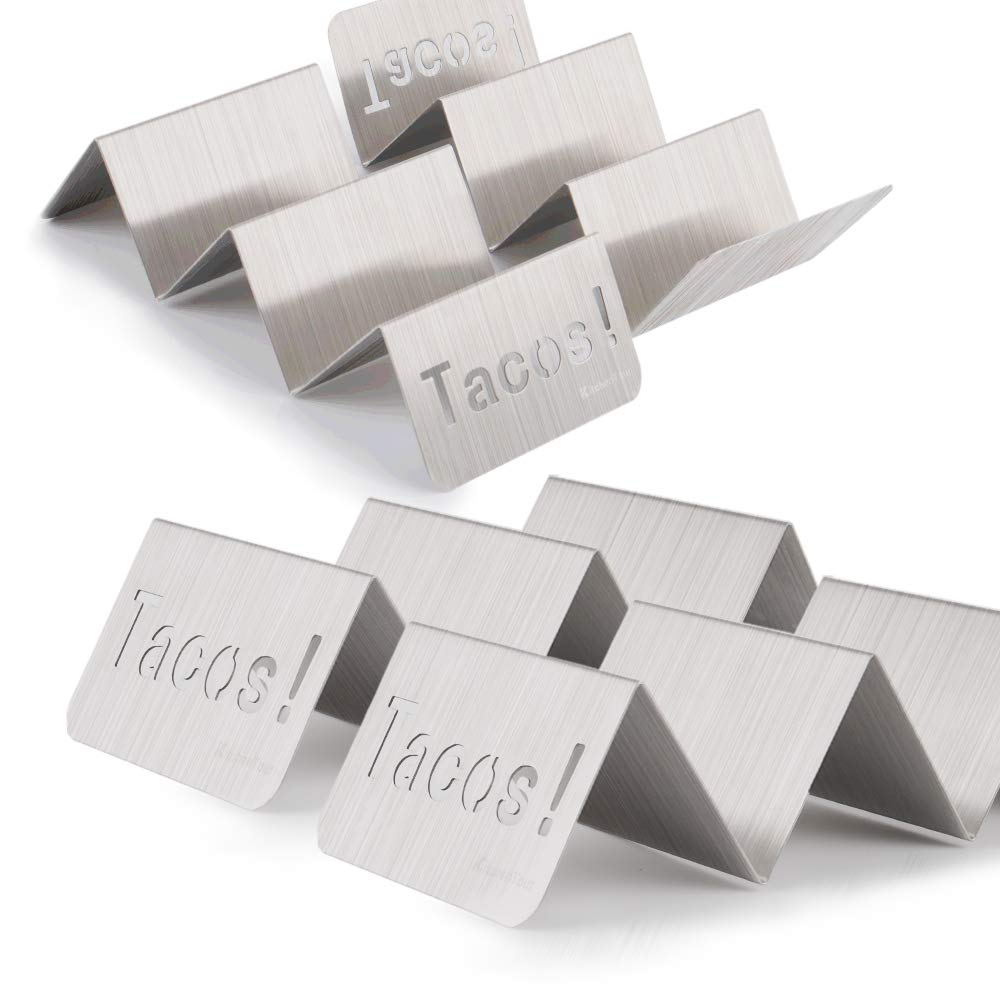 KitchenTour Taco Holder Stand 4 Pack - Stylish 'Tacos!' Hollow Out Design Stainless Steel Taco Rack Holds Perfect for HARD or SOFT Tacos Shell - Keep Tacos Upright without Any Mess