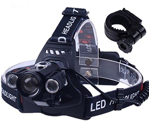 (1 Pack 9000 Lumen Cree XML 1xT6 2xQ5 LED Flashlight Headlamp Headlight 4 Modes 30W Flashlights Heart-stopping Fashionable Hiking Light 2x 18650 Battery US AC USB Car Charger w/ Bike Clip, Type-01)